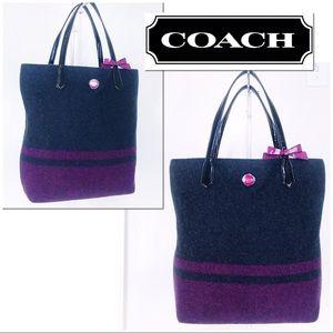 COACH Signature Stripe Wool North South Tote Bag